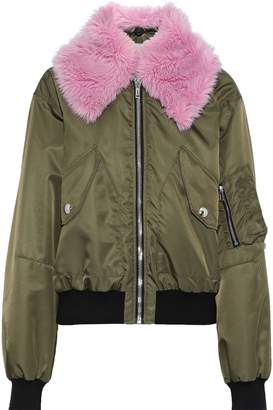 MSGM Faux Fur-trimmed Shell Bomber Jacket