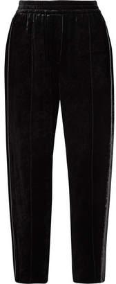 Brunello Cucinelli Embellished Velvet Track Pants - Black