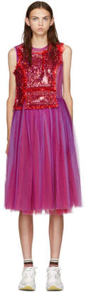 Comme des Garcons Purple and Red Sequin Tulle Dress