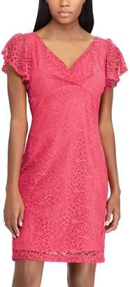 Chaps Women's Lace Flutter Sleeve Dress