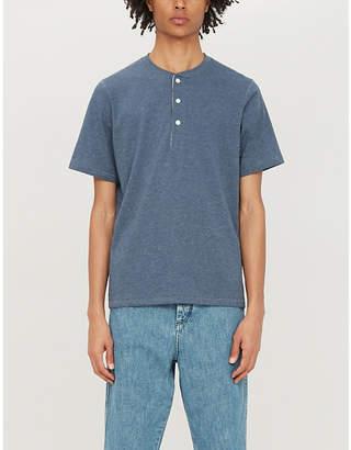 Billy Reid Button-up cotton-blend T-shirt