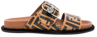Fendi Logo Print Leather Buckle Slides