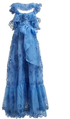 Valentino Ruffled Silk Organza Gown - Womens - Light Blue
