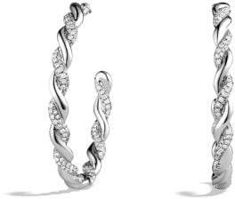 David Yurman Wisteria Hoop Earrings With Diamonds In 18K White Gold