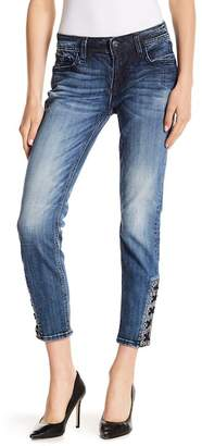 Miss Me Lace-Up Hem Skinny Jeans