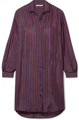 Mes Demoiselles Sox Striped Silk-satin Shirt - Grape