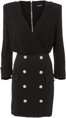 Balmain Button-Embellished Mini Dress