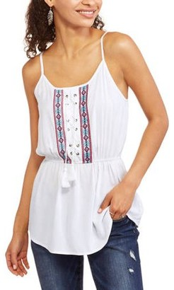 CALIFORNIA HAPPENINGS Women's Laceup Embroidered Tank