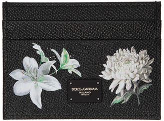 Dolce & Gabbana Black Flower Logo Card Holder
