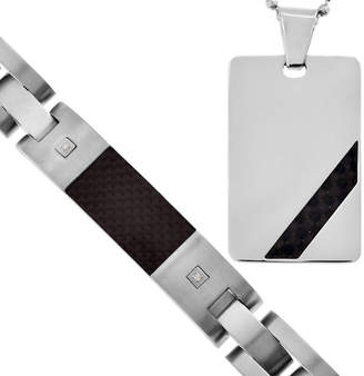 JCPenney FINE JEWELRY Mens Diamond-Accent Dog Tag Pendant Necklace & Bracelet 2-Pc. Set