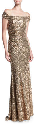 Badgley Mischka Off-the-Shoulder Sequin Column Evening Gown