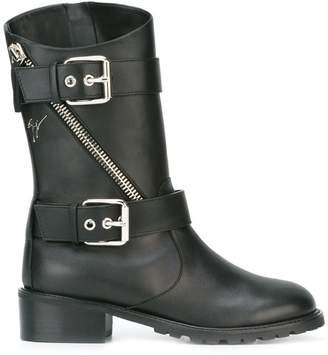 Giuseppe Zanotti Design buckle strap mid-calf boots