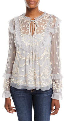 Needle & Thread Flapper Long-Sleeve Embroidered Ruffle Top