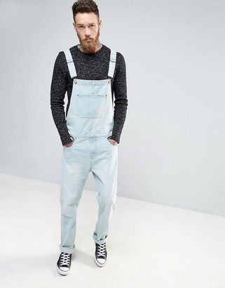 ASOS Denim Overalls In Light Blue Wash $67 thestylecure.com