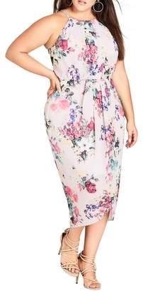 City Chic Pretty Posey Tulip Hem Midi Dress