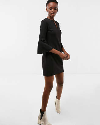 Express Flounce Sleeve Keyhole Shift Dress