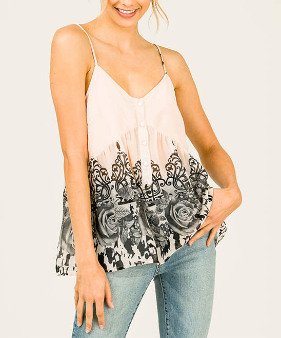 Blush & Black Floral Damask Empire-Waist Tank - Women