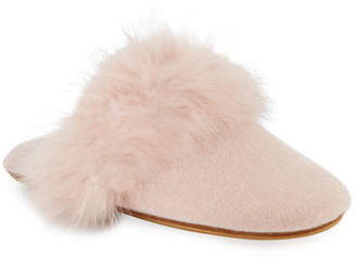 Neiman Marcus Cashmere Fox Fur-Trim Mule Slippers