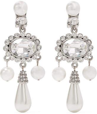 Oscar de la Renta Silver-plated, Faux Pearl And Swarovski Crystal Clip Earrings