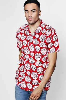 boohoo Red Short Sleeve Tropical Leaf Print Revere Shirt