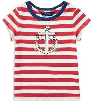 Ralph Lauren Polo Girls' Striped Anchor Tee - Little Kid