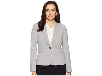 Tahari ASL One-Button Plaid Long Sleeve Jacket Women's Coat