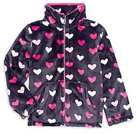Hatley Little Girl's & Girl's Lovely Hearts Fuzzy Fleece Jacket