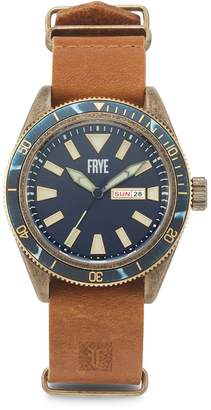 Frye Campus Distressed Stainless Steel Case Leather-Strap Watch