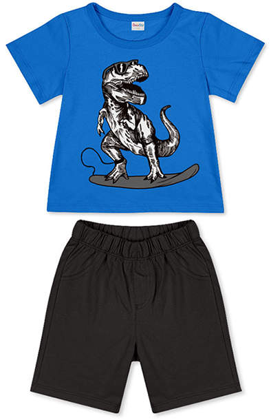 Blue Dinosaur Tee & Black Shorts - Newborn, Infant, Toddler & Boys
