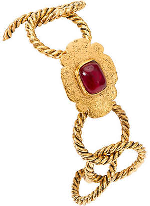 One Kings Lane Vintage Chanel Braided Bracelet with Red Gripoix - Vintage Lux