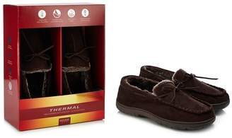 Maine New England MAINE Chocolate Brown 'Thinsulate' Memory Foam Moccasin Slippers