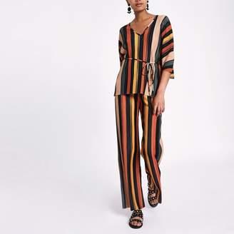 River Island Womens Blue stripe pleated wide leg trousers