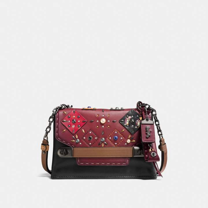 Coach Swagger Chain Crossbody With Patchwork Prairie Rivets - BORDEAUX MULTI/BLACK COPPER - STYLE