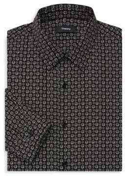 Theory Printed Cotton Button-Down Shirt