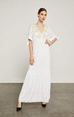 BCBGMAXAZRIA Alysa Embroidered Sleeve-Tie Maxi Dress