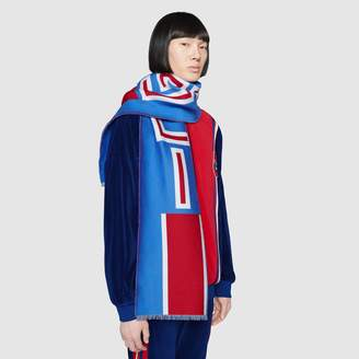 Gucci Wool scarf with jacquard stripe