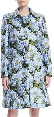 Escada Button-Front Floral-Jacquard Topper Coat