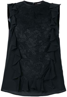Roberto Cavalli ruffled lace shell top