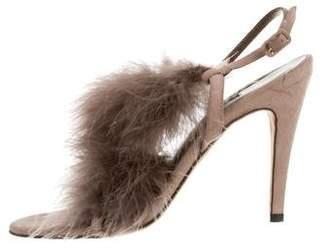 Manolo Blahnik Feather-Embellished Wizza Sandals