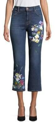 Max Mara Ron Floral Crop Flare Jeans