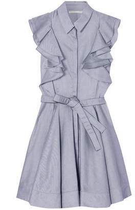 Antonio Berardi Ruffled Cotton-chambray Mini Dress