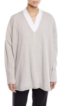 eskandar V-Neck Long-Sleeve A-Line Cashmere Sweater