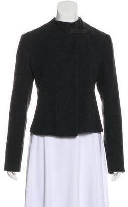 Emporio Armani Leather-Trimmed Knit Jacket