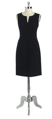 Anne Klein Split V-Neck Sheath Dress