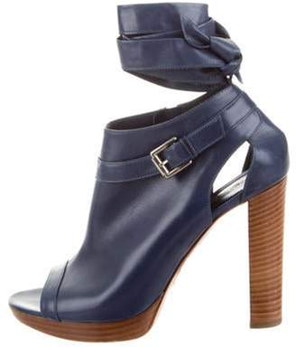 Gianvito Rossi Leather Peep-Toe Ankle Booties Navy Leather Peep-Toe Ankle Booties