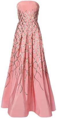 Oscar de la Renta sequin fishnet embroidered gown