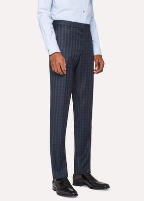 Paul Smith Men's Slim-Fit Dark Green Check Wool Pants
