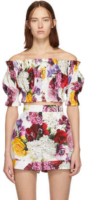 Dolce & Gabbana Multicolor Poplin Ortensia Off-The-Shoulder Blouse