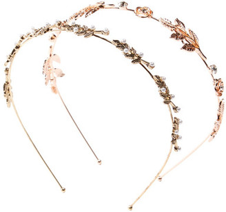 Berry Gold-Tone Leaf & Crystal Detail Headband - Set of 2 $14.97 thestylecure.com