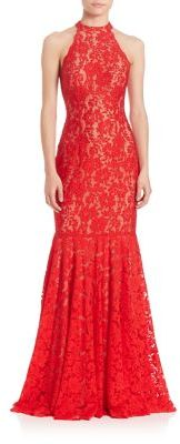 Jovani Sleeveless Halter Lace Gown $550 thestylecure.com